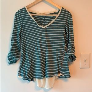 Anthropologie Meadow Rue Green Striped Lace Shirt